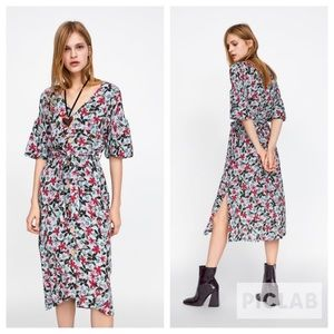 Zara floral print dress with ruching